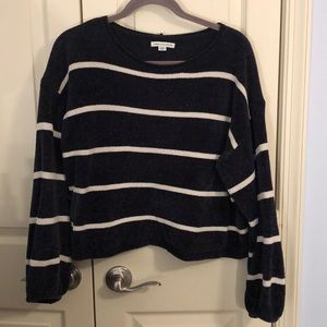 AE Navy Cropped Balloon Sleeve Sweater